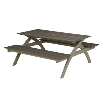 Plymouth Bay Picnic Table with Table and Commercial-Grade Aluminum Frame - 120 lbs.
