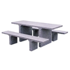7 Ft. ADA Concrete Rectangular Picnic Table with Detached Benches, 2620 Lbs.