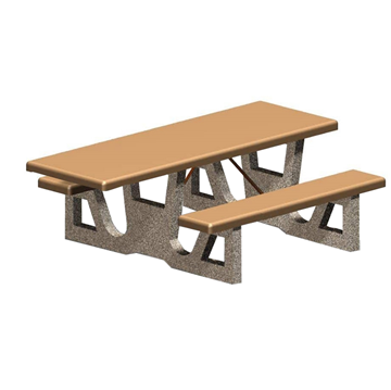 ADA Wheelchair Accessible Concrete Rectangular Picnic Table 84 In. Concrete With Exposed Aggregate, Commercial