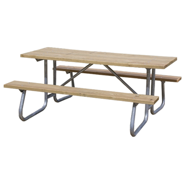 Rectangular Wooden Picnic Table, 12Ft.
