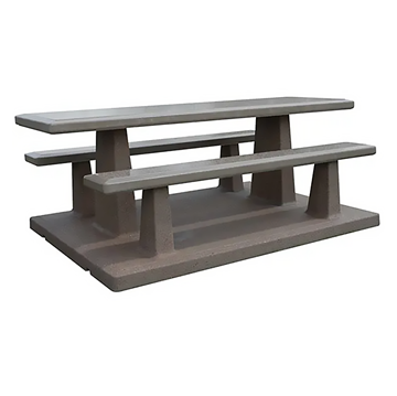 """102"""" Rectangular Concrete Picnic Table with Attached Benches, 3500 Lbs."""