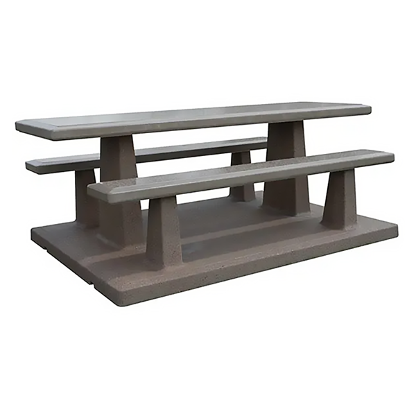"102"" Rectangular Concrete Picnic Table with Attached Benches, 3500 Lbs."