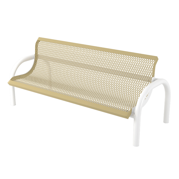 Bench With Back 6 Ft. Plastic Coated Expanded Metal with 2 7/8 In. Bent Frame