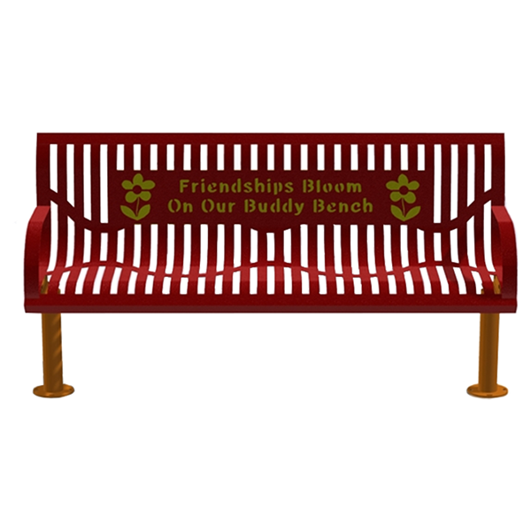 6 Ft. Buddy Bench With Back, Wingline Ribbed Steel, 121 Lbs.