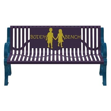 5 Ft. Buddy Bench With Back, Classic Ribbed Steel, 110 Lbs.