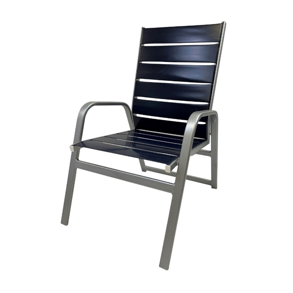 Destin Armchair Commercial Vinyl Strap with Stackable Powder-Coated Aluminum Frame - 9 lbs.