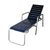 Destin Commercial Vinyl Strap Stack Chaise Lounge Powder-Coated Welded