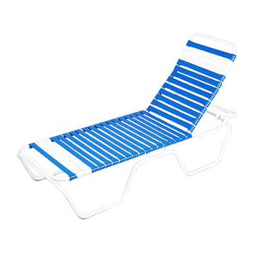 Daytona Commercial Vinyl Strap Chaise Lounge with Stackable Powder-Coated Aluminum Frame