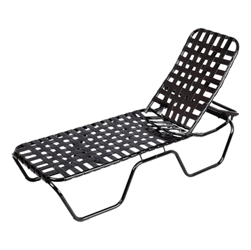 Daytona Cross Weave Vinyl Strap Commercial Chaise Lounge with Stackable Powder-Coated Aluminum Frame