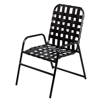 Daytona Cross Weave Vinyl Strap Commercial Chair with Powder-Coated Aluminum Frame