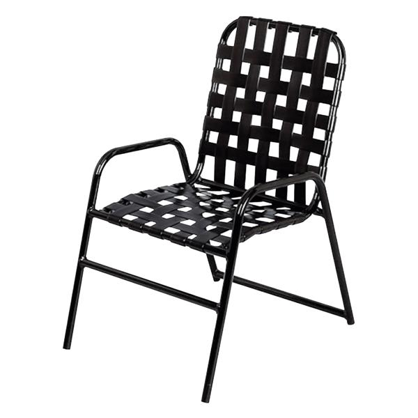 Daytona Cross Weave Vinyl Strap Commercial Chair with Powder-Coated Aluminum Frame