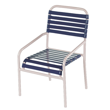 St. Lucia Dining Chair, Vinyl Straps with Aluminum Frame
