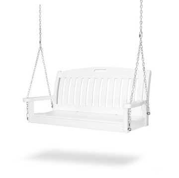 Polywood Nautical 48 In. Porch Swing Recycled Plastic, Includes Swing Chain Kit