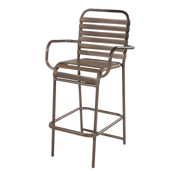 Neptune Poolside Bar Stool with Arms, Vinyl Straps with Aluminum Frame