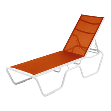Neptune Senior Height Armless Sling Chaise Lounge with Aluminum Frame
