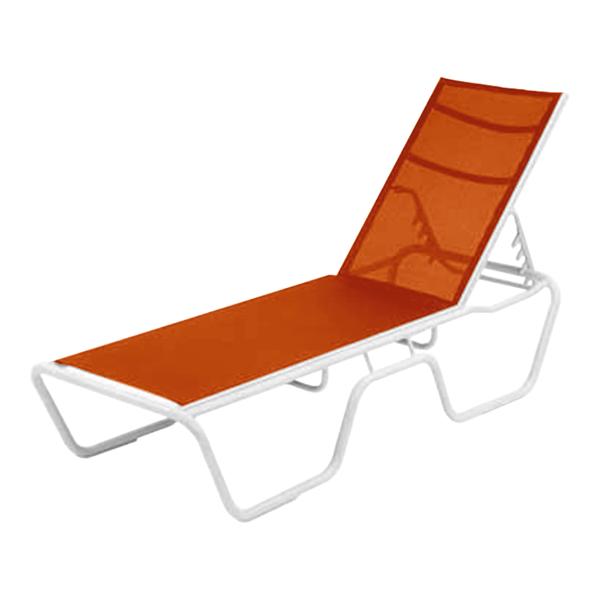 Neptune Senior Height Armless Sling Chaise Lounge with Aluminum Frame