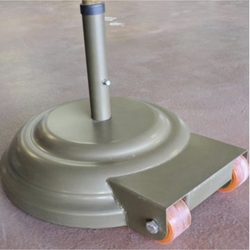 """23"""" Diameter Aluminum Umbrella Base With Wheels Filled With Concrete - 175 lbs."""