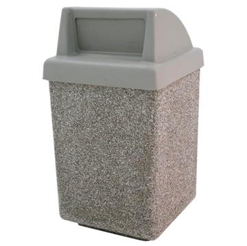 53 Gallon Concrete Trash Receptacle - Gray Top