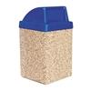 53 Gallon Concrete Trash Receptacle - Blue Top