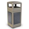 42 Gallon Stonetec Square Receptacle with Dome Top. Plastic with Stonetec Panel - Black w/ Sedona Panels