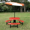 """42"""" Round Fiberglass Cafe Picnic Table With Powder-Coated Steel Frame"""