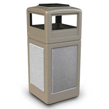 42 Gallon Plastic Trash Can with Stone Panels and Ash Top