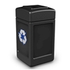 42-Gallon Polytec Polyethylene Recycling Container Square with Top-Opening Lid - 18 lbs.
