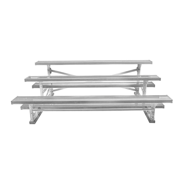 Tip and Roll 3 Row Bleachers 27 Foot Aluminum