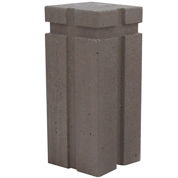 """18"""" Square Concrete Bollard With Engraved Lines"""