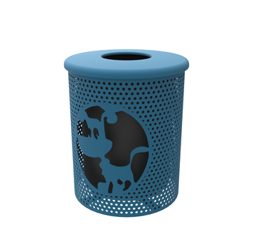 Trash Can 32 Gallon Punched Steel Dog Park with Flat Top, Portable
