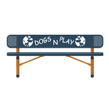 6 Ft. Punched Steel Dog Park Bench with Back, Portable