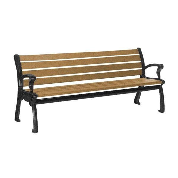 8 Ft. Recycled Plastic Bench with Cast Aluminum Frame, 213 Lbs.