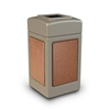 42 Gallon Plastic Trash Can with Stone Panels - Black w/ Pepperstone Panels