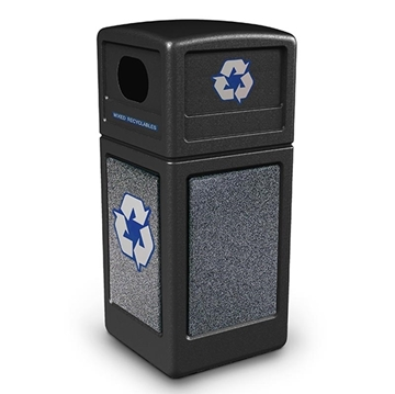 42 Gallon Plastic Recycling Receptacle with Stone Panels