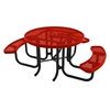 """46"""" RHINO Wheelchair Accessible Round Thermoplastic 3-Seat Picnic Table with Portable Frame"""
