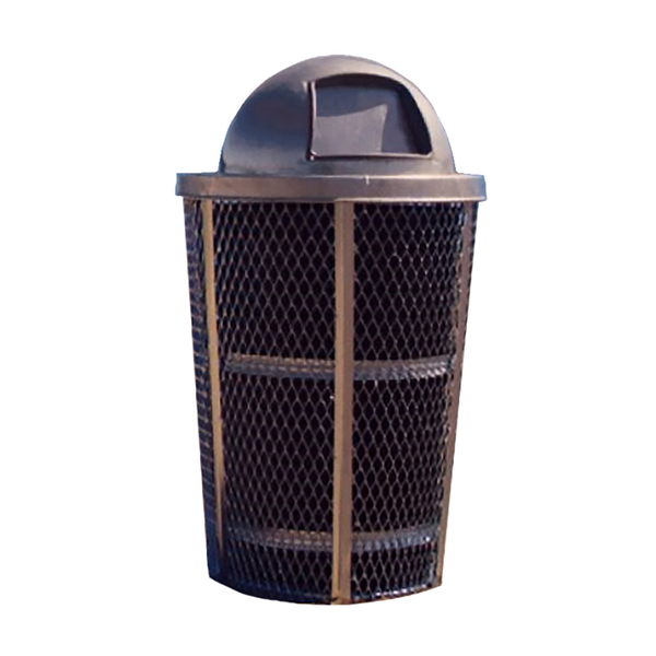 Picture of Trash Can Expanded Metal Basket Round 48 Gallon Powder Coated Steel with Dome Top