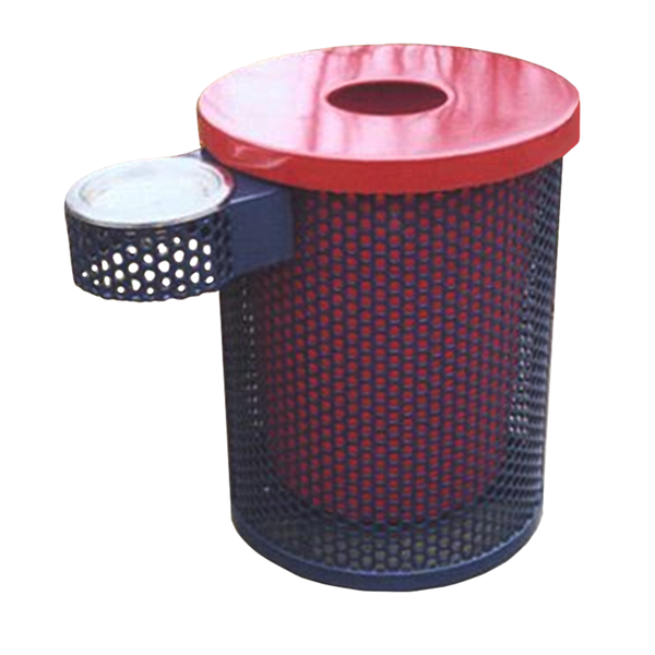 Picture of Perforated Trash Receptacle with Ash Tray 32 Gallon Plastic Coated Perforated Steel Includes Liner and Flat Top