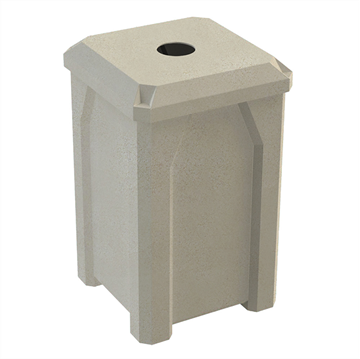 """32 Gallon Receptacle with Flat 4"""" Hole Recycle Lid"""