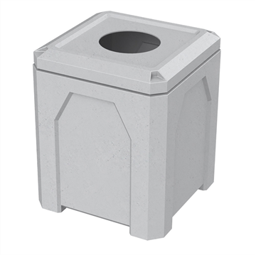 """52 Gallon Square Receptacle with 10"""" Recycle Lid"""