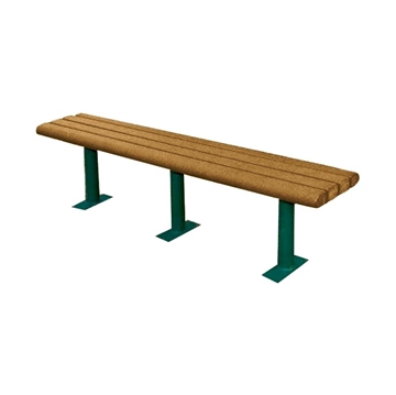 6 Ft. Recycled Plastic Backless Bench with Steel Frame, 155 Lbs.