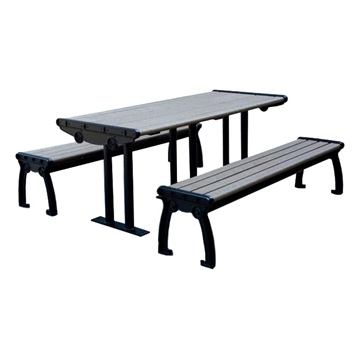 8 Ft. ADA Compliant Recycled Plastic Picnic Table With Cast Aluminum Frame, 457 Lbs.